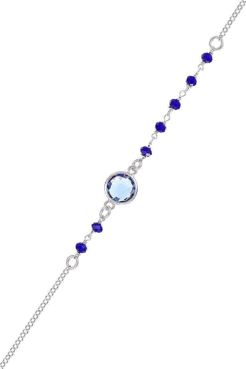 Córdoba Jewels |Pulsera en Plata de Ley 925 con Piedra semipreciosa y Swarovski con diseño Dolce Montana Swarovski Silver