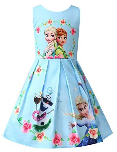 Girls Unicorn Frozen Birthday Party Dress Costumes Fancy Dress up (Frozen Blue, 4-5Y)