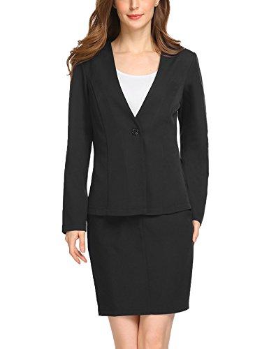 ANGVNS Women's Classic Slim Fit Blazer and Back Split Skirt Suit (Black Womens Skirt Suit)