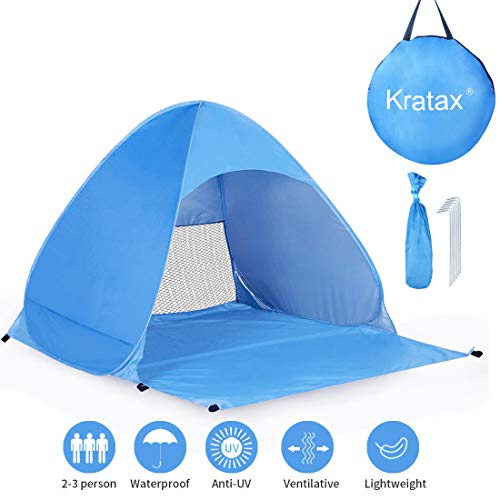Kratax Pop Up Beach Tent Sun Shelter, UPF 50 Instant Beach Shelter for Baby, 2-3 Person Outdoor Tent for Family