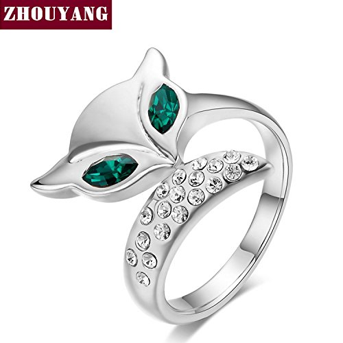 BPR-Ring ZYR195 Fox Crystal Ring Silver Color Austrian Crystals