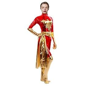 - 41ZhmERndjL - Sheface Women's Metallic Phoenix Zentai Catsuit Halloween Costumes
