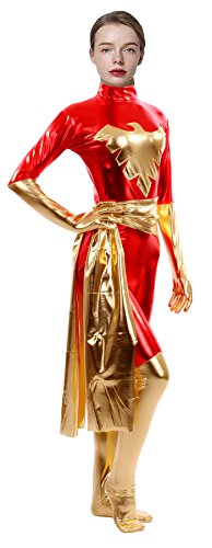 Sheface Women's Metallic Phoenix Zentai Catsuit (X-Large, Red)