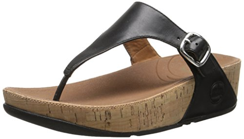 Skinny Cork Leather Flip Flop, Black, 6 M US (Cork Leather Flip Flops)
