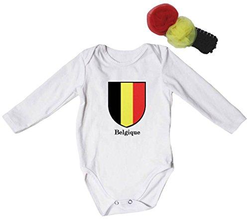 Price comparison product image Petitebella Flag of Belgique Cotton L / s Bodysuit Unisex Nb-18m (Black,  3-6 Months)