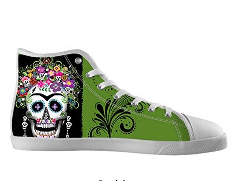 Vrouwen Canvas Hoge Schoenen Dag Van De Dode Ontwerp Suiker Schedel Shoes08
