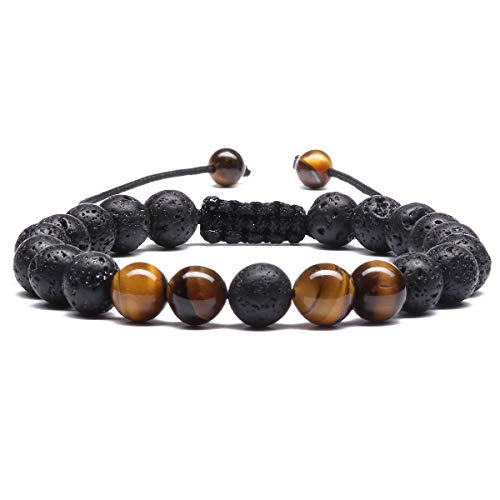 Mens 8mm Lava Stone Rock Bracelet for Women Aromatherapy Anxiety Essential Oil Diffuser Bangle Tiger Eye E034C