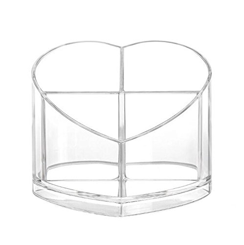 (MiCorazon Acrylic Makeup Organizer - Heart Shaped - Ideal for Brushes, Cosmetics, Personal Items and Stationery)
