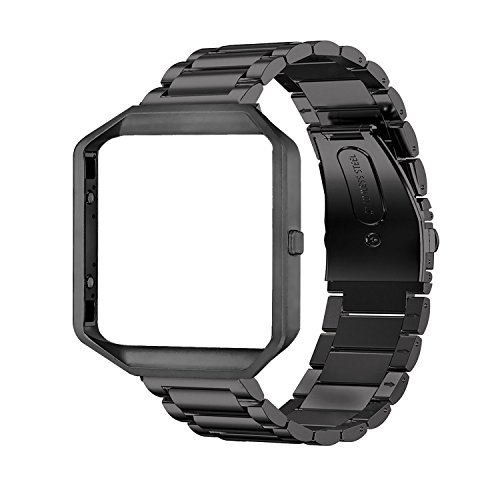 Oitom Metal Bands Compatible with Fitbit Blaze Large,Frame Housing+Stainless Steel Bracelet Replacement Accessory Strap Watch Band for Smart Fitness Watch (Black Steel+Frame)