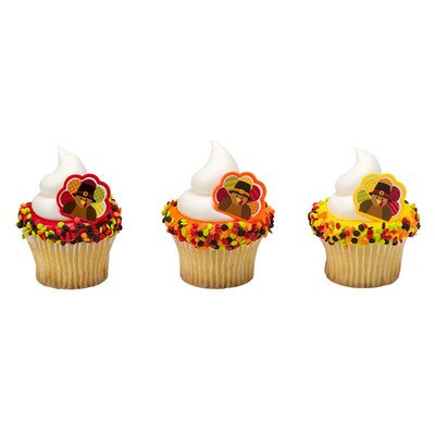 24pack Happy Turkey Cupcake / Desert / Food Decoration Topper Rings with Favor Stickers & Sparkle (Decorating A Turkey)