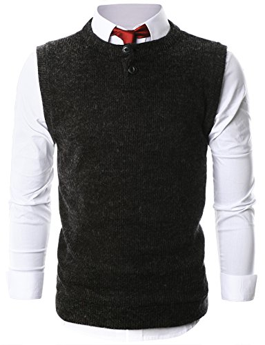 Ohoo Mens Casual Crewneck Henley Sweater Button (Button Up Sweater Vest)