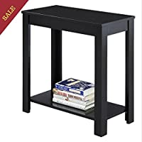 Small End Table Living Room Bedroom Nightstand With Lower Shelf Finish Black For Modern And Classic Decorated Spaces And E-book By TSR