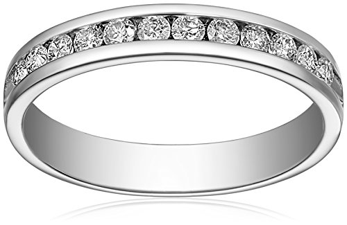 14k White Gold Round Diamond Anniversary Band (1/2 cttw, H-I Color, I1-I2 Clarity), Size 8
