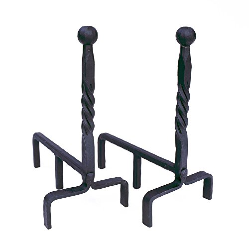 Ball Wrought Iron - Minuteman International Ball End wrought iron fireplace andirons pair Black
