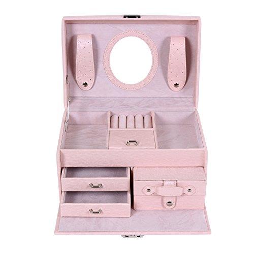 Songmics Schmuckschatulle Schmuckkästchen abschließbar mit Spiegel pink JBC132F