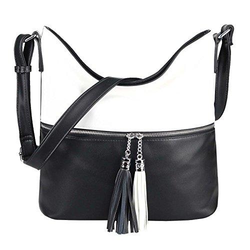 OBC Only-Beautiful-Couture , Sac pour femme à porter à l'épaule noir noir ca.: 39x32x15 cm (BxHxT) Schwarz-weiß