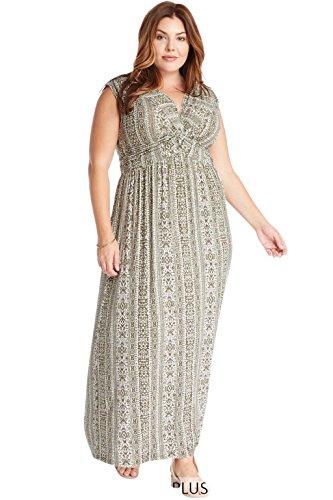Poshsquare Women's Sleeveless V Neck Knot Front Jersey Stretch Comfy Maxi Plus Dress USA Green Print 2XL ()
