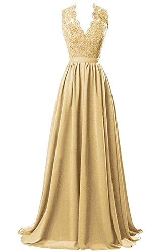 (Nina V-Neck Long Chiffon Open Back Bridal Prom Evening Dress Gold 8)