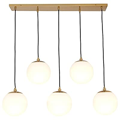 Amazon Brand – Rivet Eclipse Mid Century Modern 5-Globe Hanging Ceiling Pendant Chandelier Fixture - 30 x 12 x 36 Inches… - Contemporary, sleek globe pendant lights add high style and a touch of glamour to your get-togethers with friends. A rectangular canopy with five hanging lights makes for high-impact illumination over your drinks and appetizers. Product is hardwired (professional installation recommended). Classic and modern style Brass finish on metal with frosted glass globes - kitchen-dining-room-decor, kitchen-dining-room, chandeliers-lighting - 41ZhpZIBpCL. SS400  -