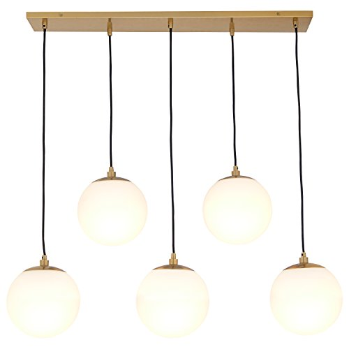 "41ZhpZIBpCL - Rivet Eclipse 5-Globe Brass Pendant Chandelier, 36"" H, Brass with Frosted Glass Globes"