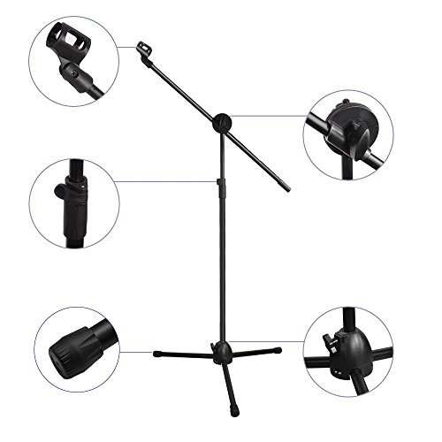 Microphone Stand, Ohuhu Tripod Boom Mic Stands with 2 Mic Clip Holders, Adjustable, Collapsible, Black by Ohuhu (Image #5)