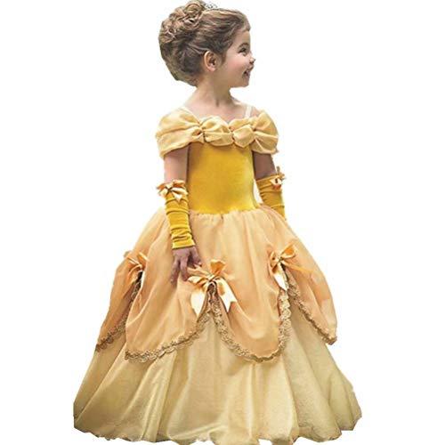 Aurora Gown Prom (Girls Halloween Costume Belle Aurora Cinderella Dress Up Party Cosplay)
