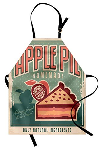 Lunarable Retro Apron, Homemade Vintage Apple Pie Advert with a Slice on Grunge Rhombus Pattern Background, Unisex Kitchen Bib Apron with Adjustable Neck for Cooking Baking Gardening, Coral Teal -