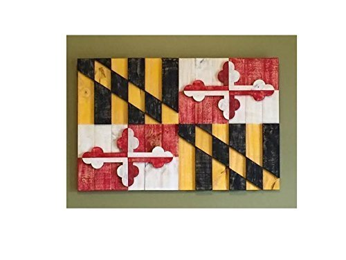 Rustic 3-Dimensional and Textured Maryland Flag Constructed from Reclaimed/Repurposed Wood (Free Shipping)