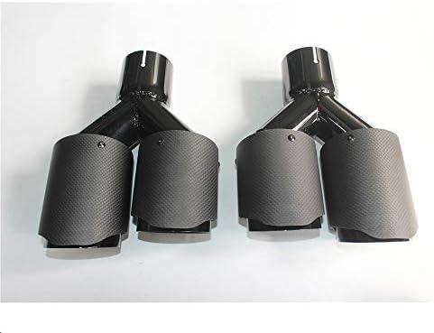 1 Paar: AutoAuspuffrohr Dual Matt Kohlefaser Schwarzer Edelstahl Universal AutoAuspuffspitze Auspuffspitze Für jedes Auto