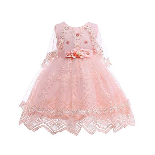 Zhhlinyuan Niñas Sin Mangas Vestido de Princesa Fiesta Bowknot Floral con Encaje Capa - Linda Vestidos de Novia Cintura Alta