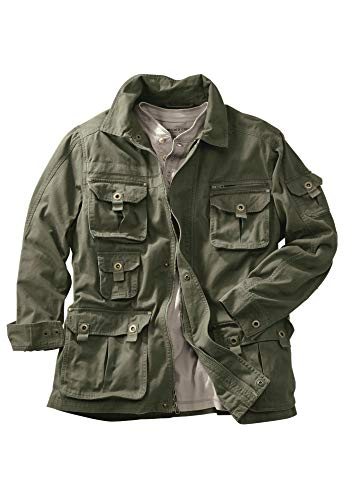 (Boulder Creek Men's Big & Tall Multi-Pocket Twill Jacket, Olive Big-2XL)