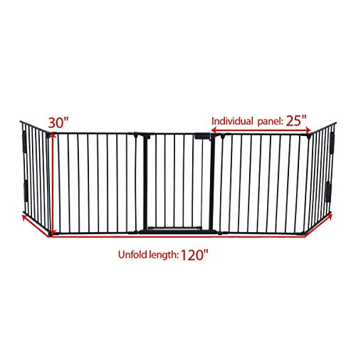 JAXPETY 25''x 30'' 5 Panel Baby Safety Fence Hearth Gate BBQ Fire Gate Fireplace Metal Plastic Pet Dog Cat by JAXPETY (Image #1)