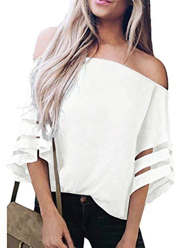 (TECREW Women's Off Shoulder 3/4 Bell Sleeve Chiffon Blouse Tops Casual Mesh Panel T Shirts White)