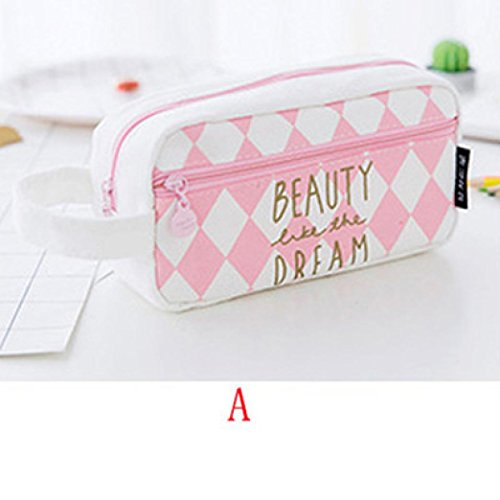 Gbell Cute Pencil Case with Compartments Creative Cartoon Pencil Bag Box for Girls Gift Novelty Item Pink and White (A)]()