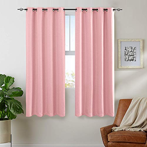jinchan Linen Look Curtains for Living Room Curtains Moderate Room Darkening Window Curtain Panels for Bedroom Single Panel 72 Length Pink from jinchan