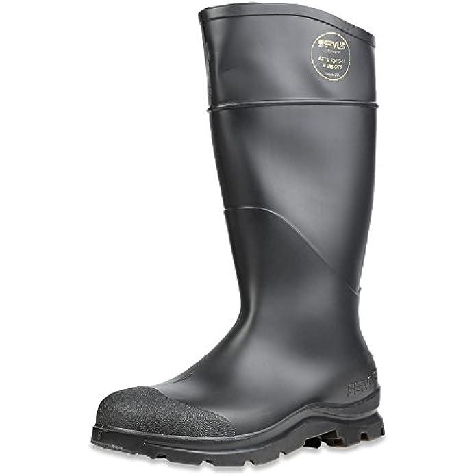 "Servus Comfort Technology 14"" PVC Steel Toe Men's Work Boots, Black - Steel Toe, 10"