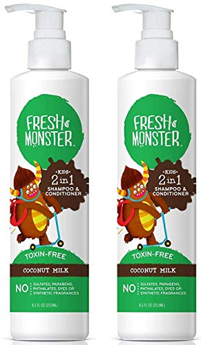 Johnsons Kids Shampoo - Fresh Monster Toxin-free Hypoallergenic 2-in-1 Kids Shampoo & Conditioner, Coconut, 2 count, 8oz.