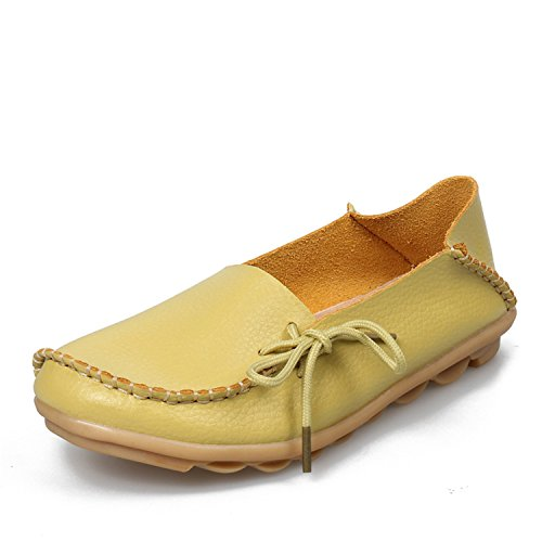 Surprising Day Women Flats Shoes Fashion Comfortable Women Casual Shoes Genuine Leather Female Soft Bottom Mother Shoes Apple Green 5.5