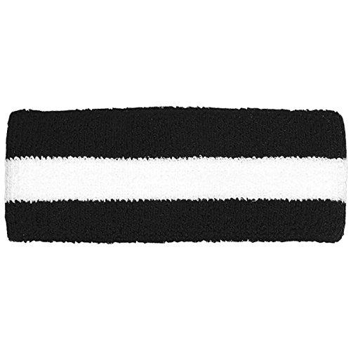 Striped Cotton Terry Cloth Moisture Wicking Head Band (Black/White)