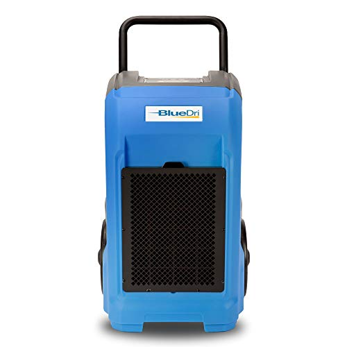 BlueDri BD-76 Industrial Commercial Grade Large Dehumidifier for Home, Basements, Garages, and Job Sites - 76 AHAM/150 Saturation PPD, Blue