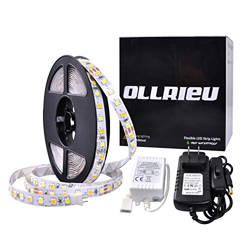 ollrieu 16.4ft/5m LED Strip Lights,Warm White & Daylight White 12V 600 Units SMD 2835 3000K-6000K Non-Waterproof UL Listed Power Adapter DIY Indoor Mirror TV Party Room Cabinet