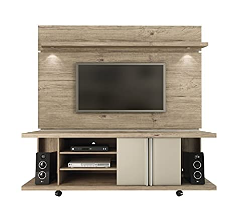 Manhattan Comfort Carnegie TV Stand & Park 1.8 Floating Wall TV Panel, Nature/Nude, 71Lx17.1Wx73H (Enclosed Av Rack)