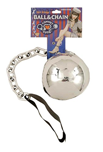 Convict Cutie Halloween Costume (Forum Novelties Women's Convict Cutie Novelty Ball and Chain, Silver, One Size)