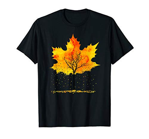 Maple Tree Falling Leaves Autumn Fall T-Shirt