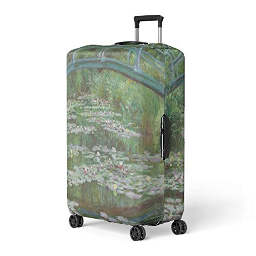 Pinbeam Luggage Cover the Japanese Footbridge By Claude Monet 1899 French Travel Suitcase Cover Protector Baggage Case Fits 22-24 inches