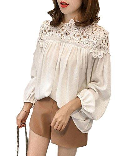 しょっぱいあいにくデコレーションapplesnow(アップルスノー) ふんわり チュニック ブラウス ドレスシャツ ワイシャツ 半袖 長袖 レディース (2XL, 長袖 白)