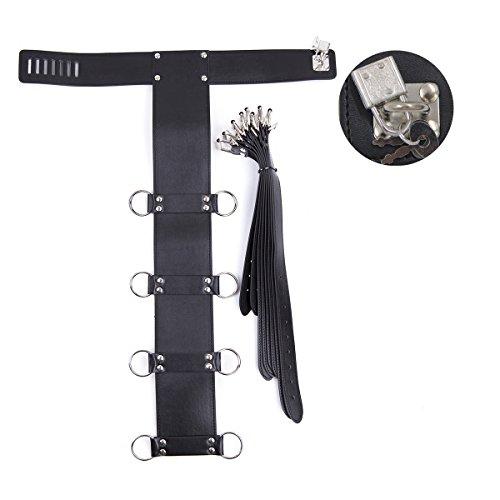 Lononvie Sex PU Bed Straps Bondage Restraints System,Neck Collar with Adjustable 4pcs Handcuffs Back,Couples BDSM Game Kit,Black by Lononvie (Image #1)