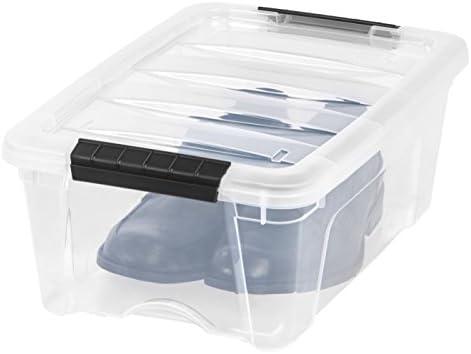 IRIS USA TB-42 12 Quart Stack & Pull Box, Clear