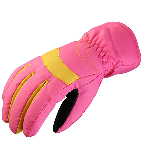 Winter Gloves, Shineweb Thick Kids Mittens Warm Winter Gloves Boys Girls Full Finger Snowboard Supply Valentine's Day Gift - Pink Yellow(over 14Y)