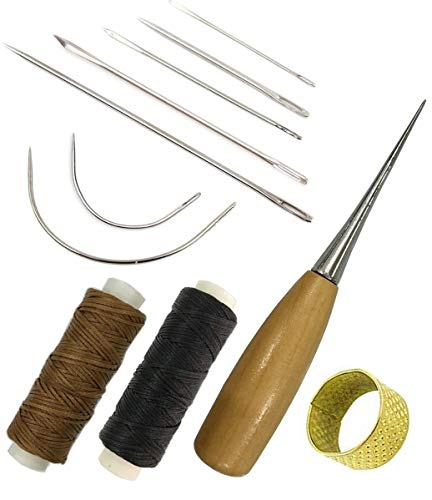 Mooerca Deryunny 7 Pieces Curved Upholstery Hand Sewing Needles Sewing Needles Leather Waxed Thread Cord 1 Brown 1 Black Drilling Awl Thimble Leather Repair